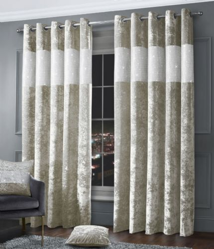 Stylish Diamante Crushed Velvet Modern Textured Ringtop Eyelet Pair Of Curtains Natural Colour